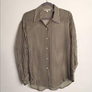 Ann Taylor 100% silk striped blouse EUC M